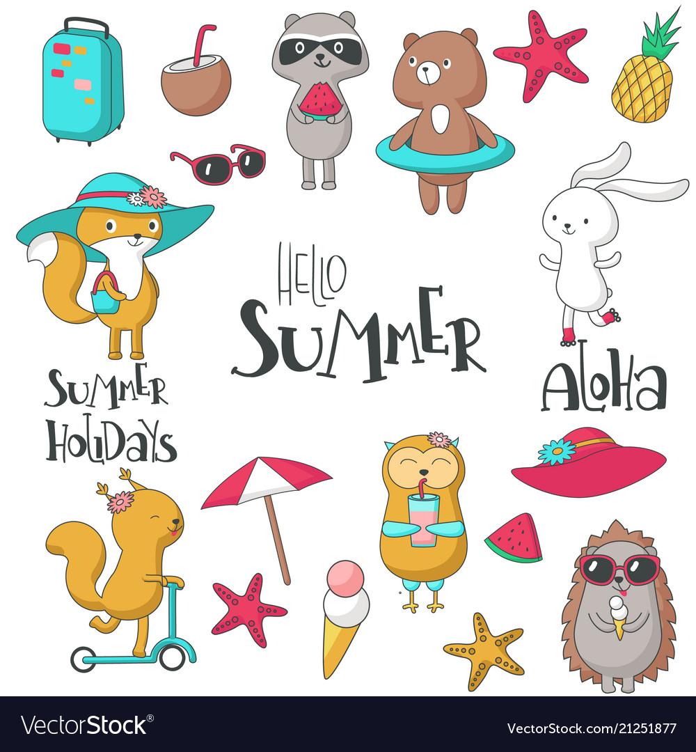 Summer icon set hand drawn