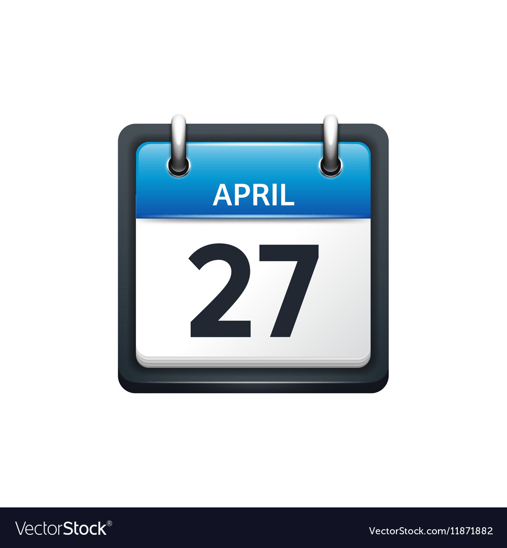 April 27 Calendar icon flat vector image