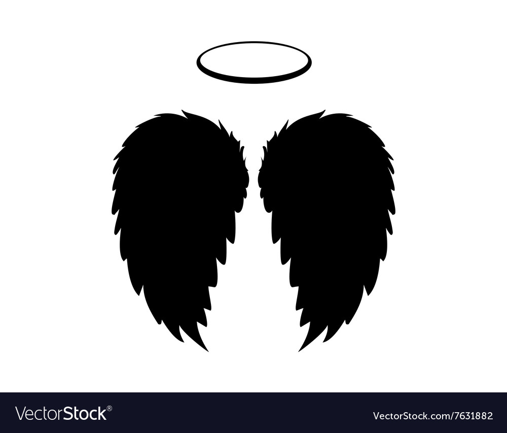 Black Angel Wings and Halo on a white backgrounf