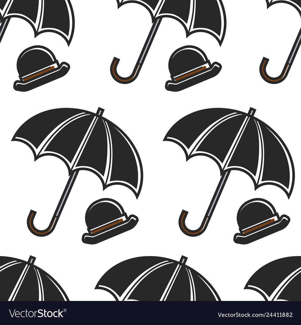 Bowler hat and umbrella british symbols seamless