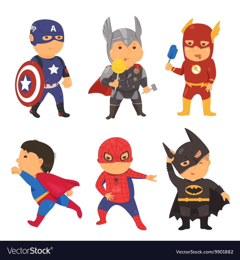 Cartoon superhero costume kids vector image  sc 1 st  VectorStock & Cartoon superhero costume kids Royalty Free Vector Image