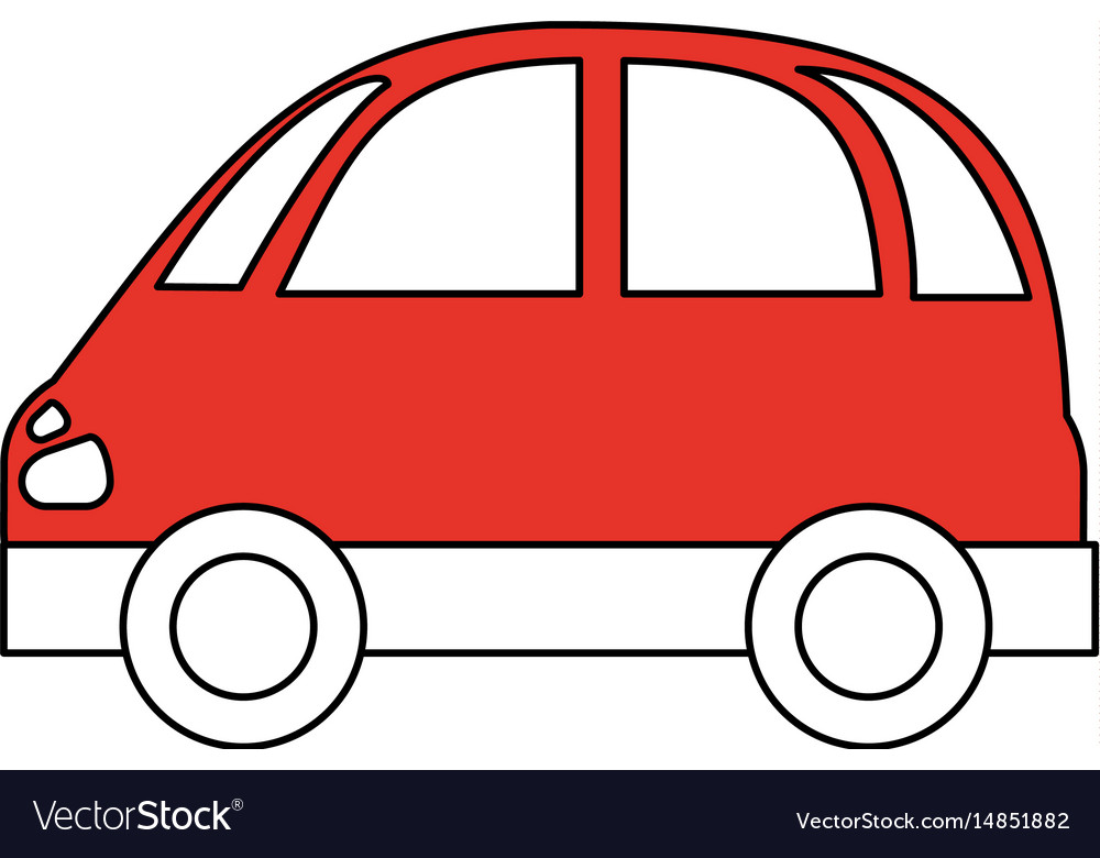 Color silhouette image red small car icon