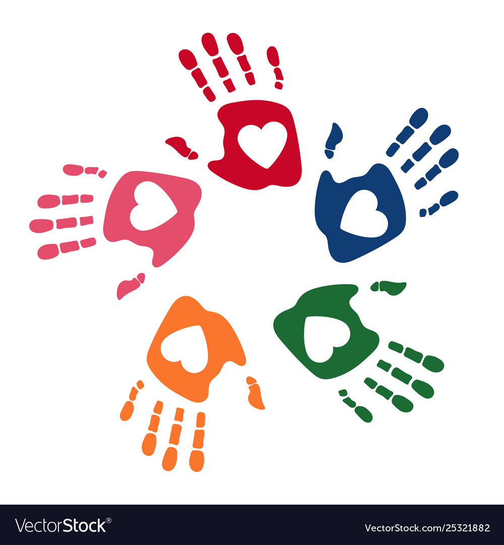 Colorful human palms childrens handprint logo