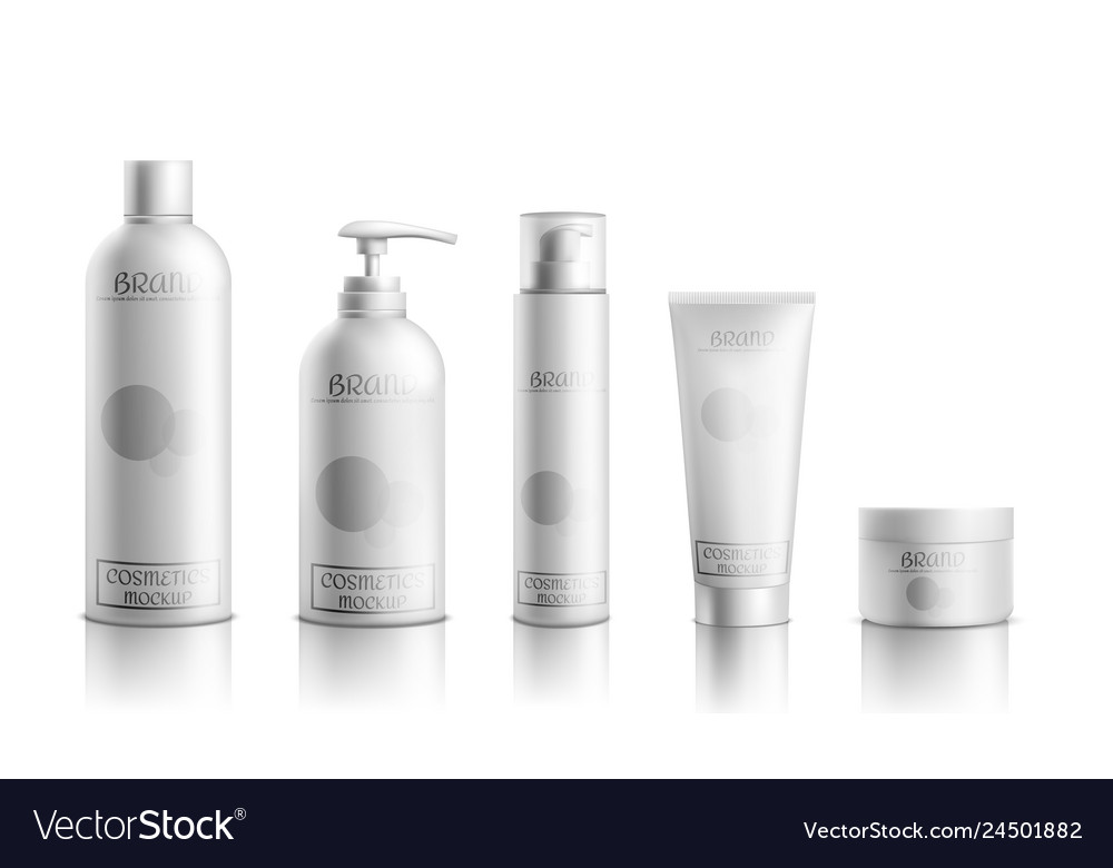 Cosmetics products packaging realistic set
