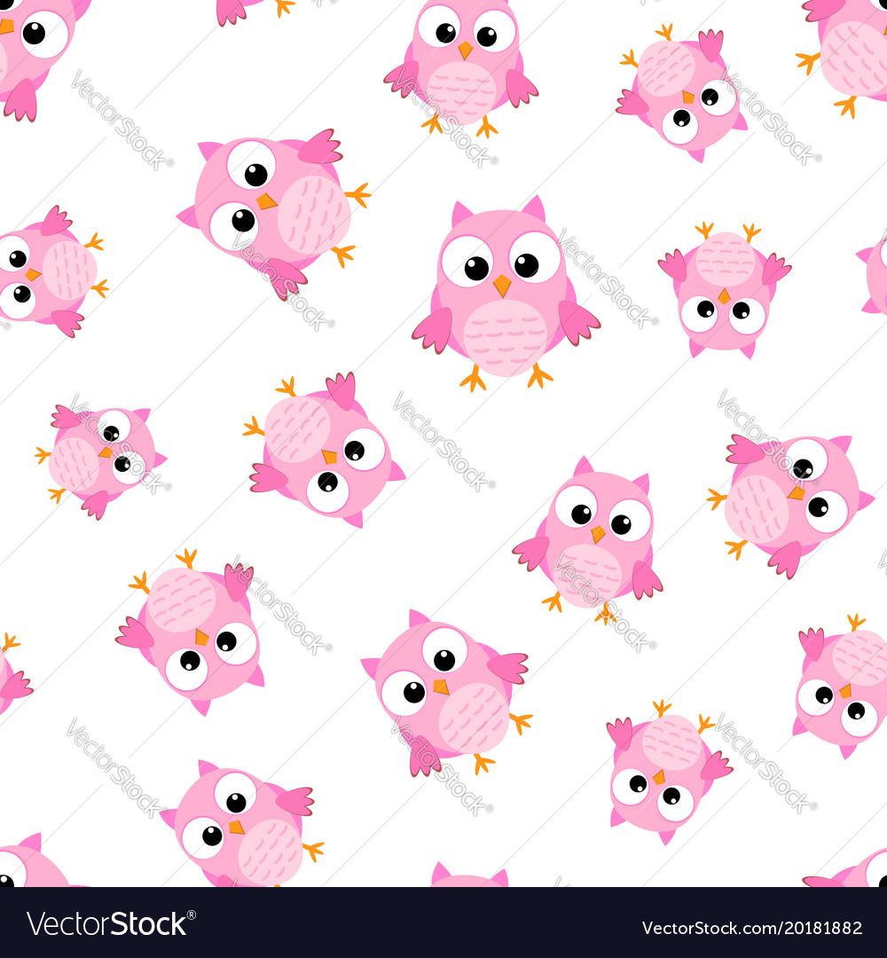 Cute cartoon owl seamless pattern background vector image