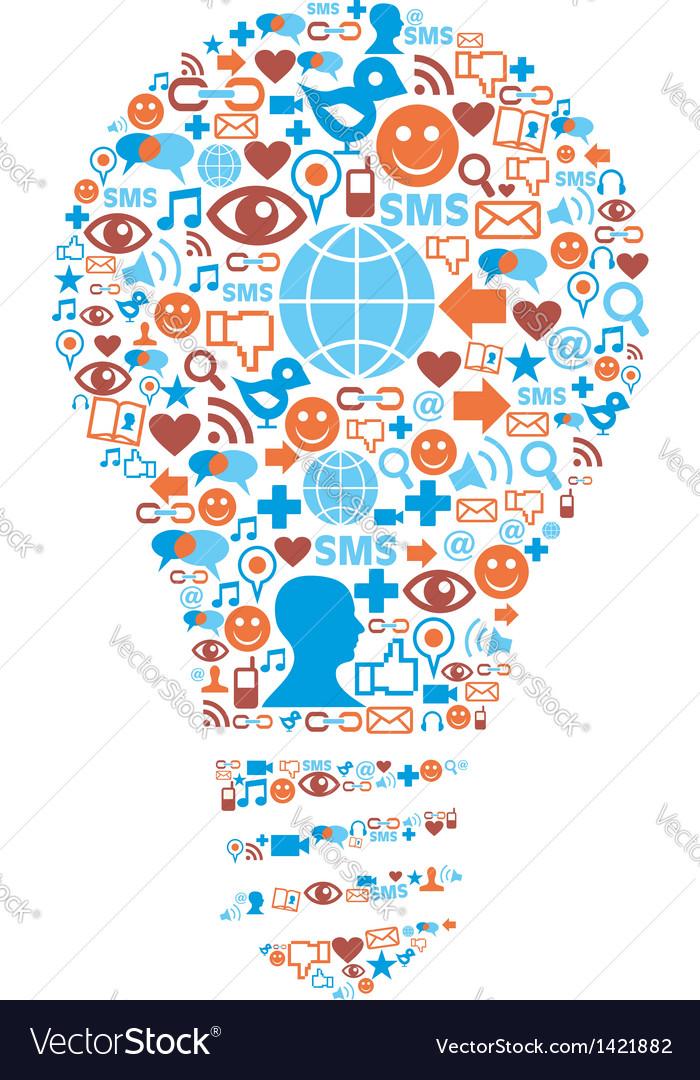 Lamp Symbol In Social Media Network Icons Vector Image