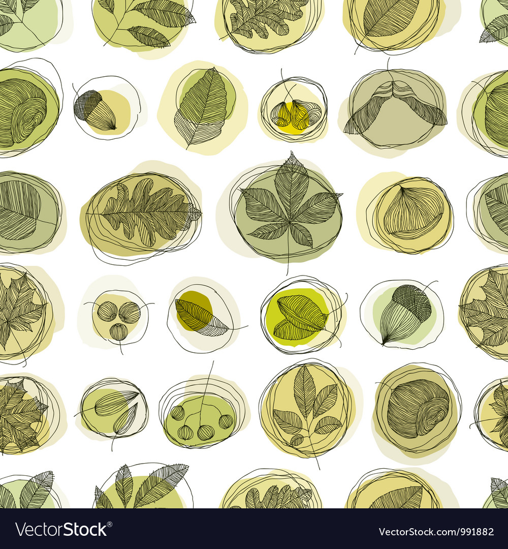 Leaves and seeds seamless pattern vector image