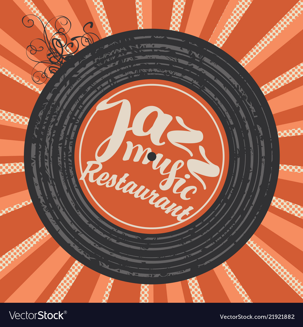Menu for jazz restaurant with vinyl record