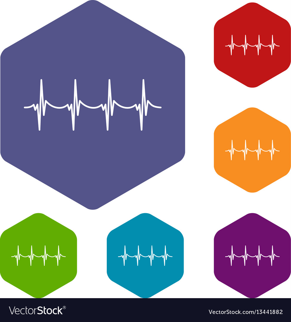 Musical pulse icons set
