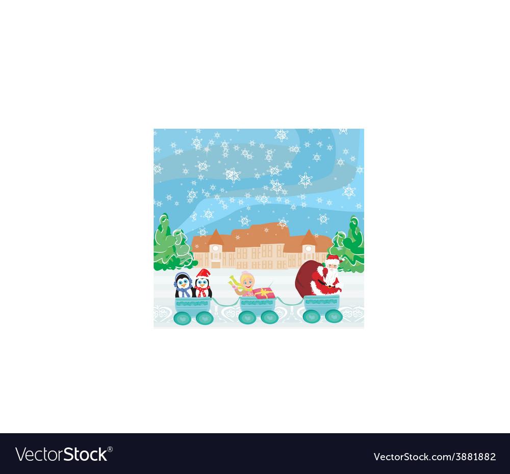 Santa Christmas Train - baby gifts and penguins