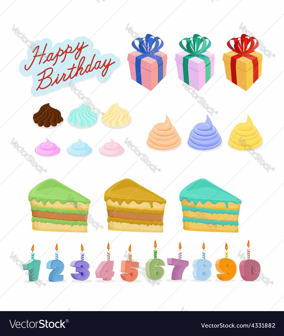 Set Happy birthday Cake candles figures