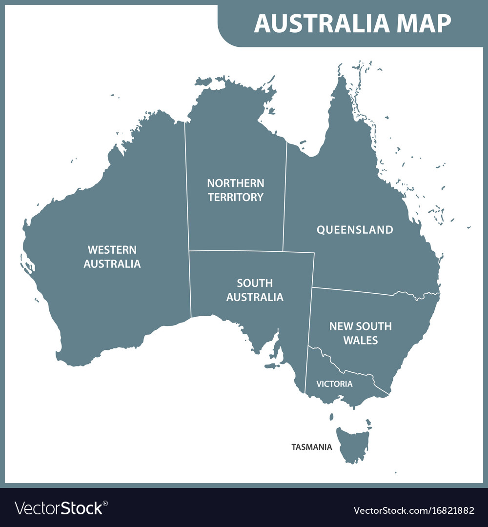 Australia Map Regions.The Detailed Map Of The Australia With Regions Vector Image