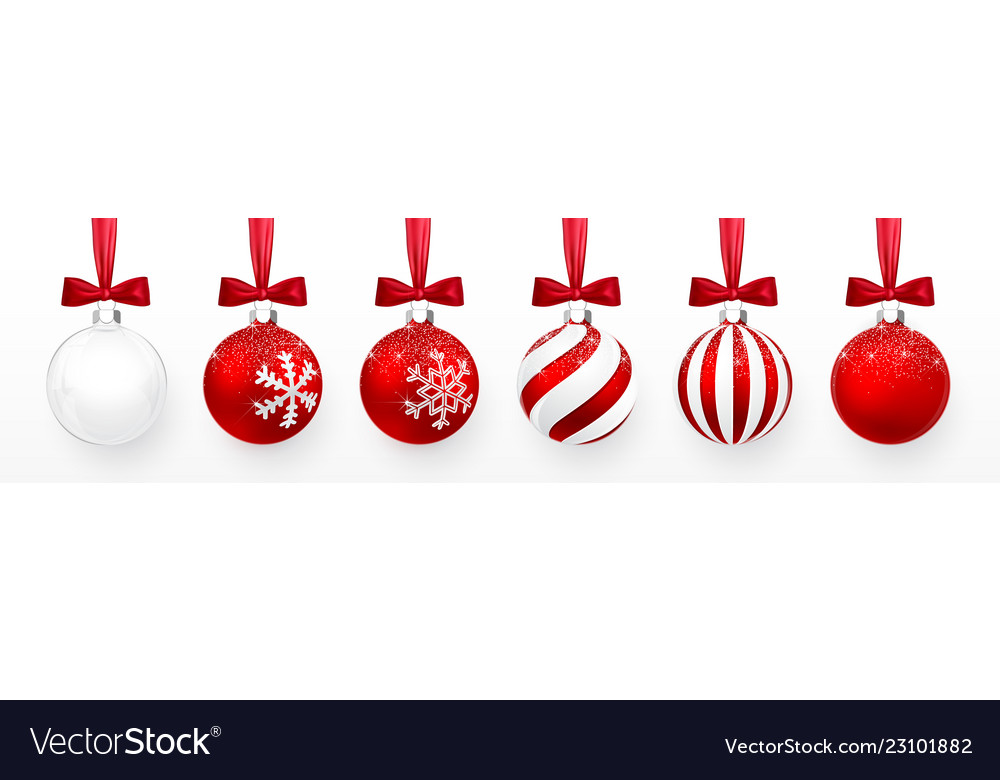 Transparent and red christmas ball with snow