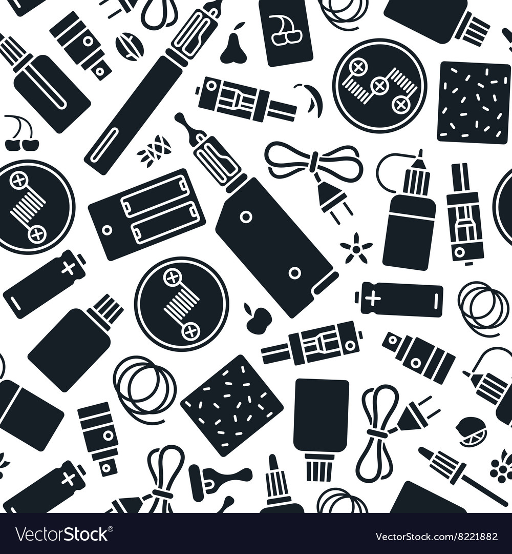 Vape shop seamless pattern in flat style vector image