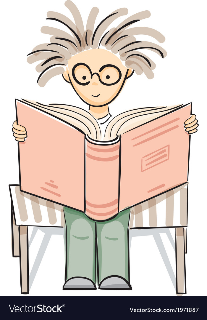 Cartoon reading boy