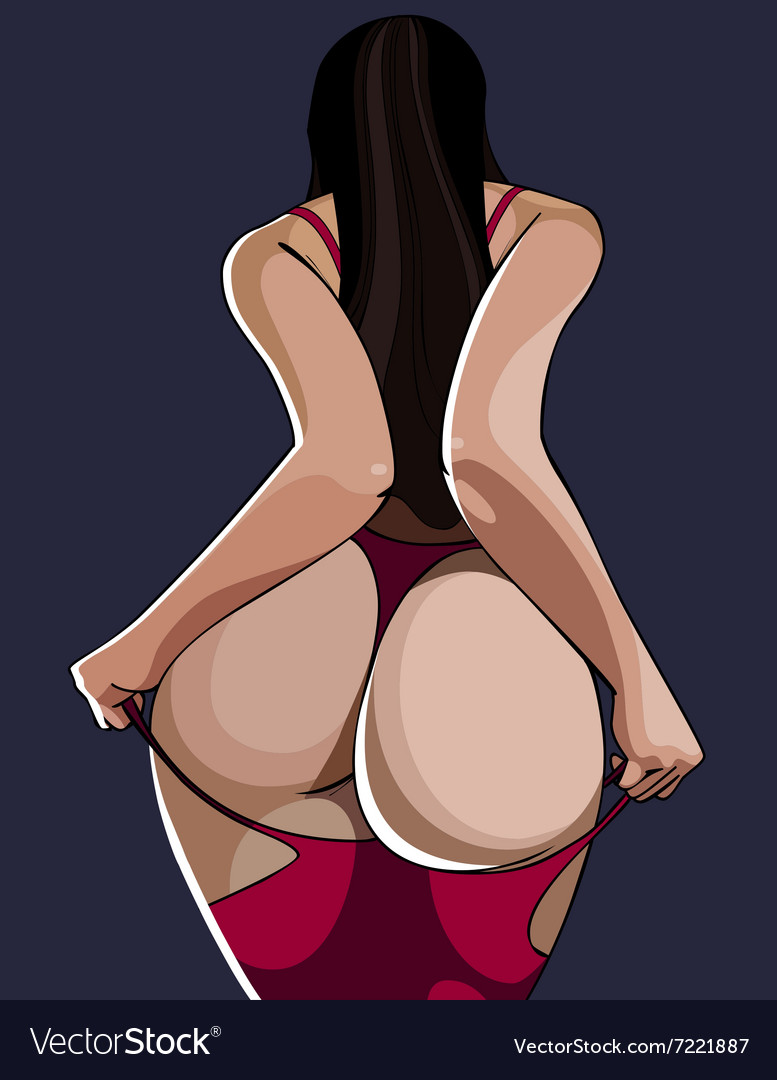 Cartoon sexy woman standing with a bare ass back