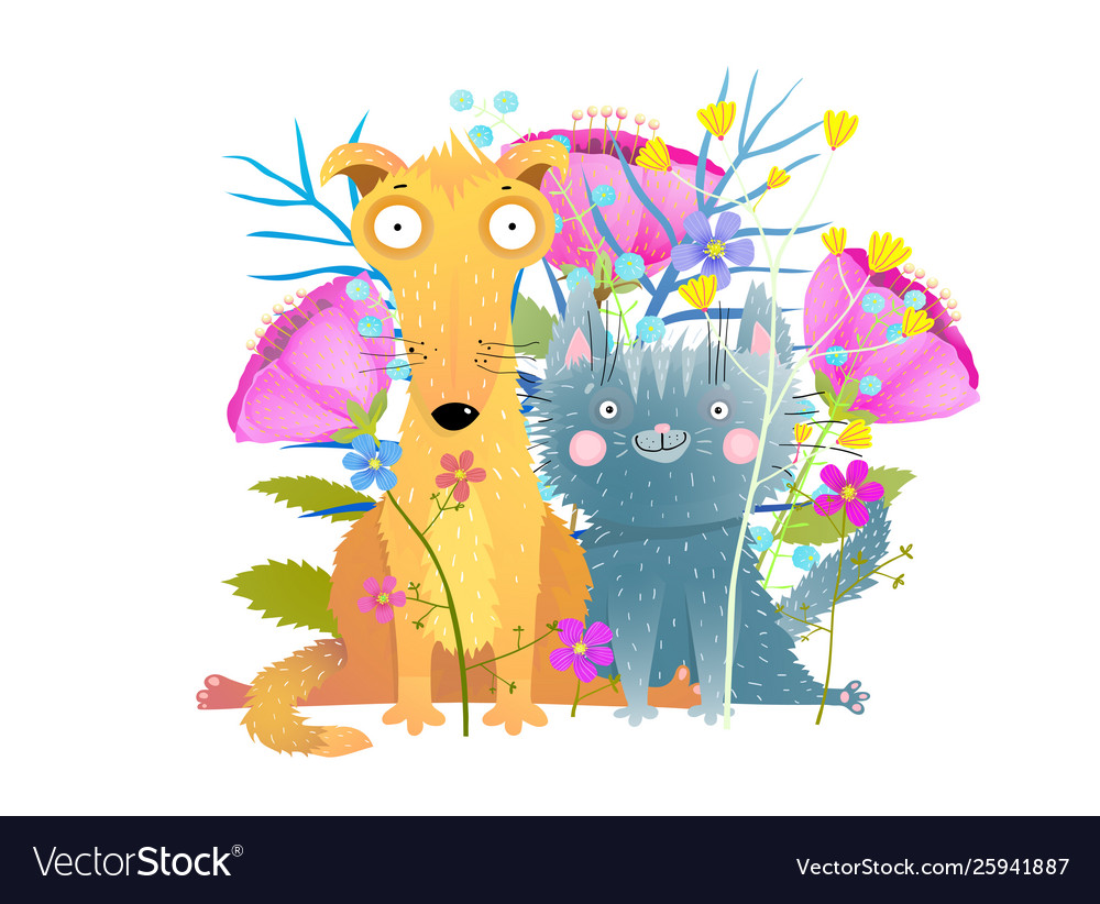 Cat and dog with flowers flat