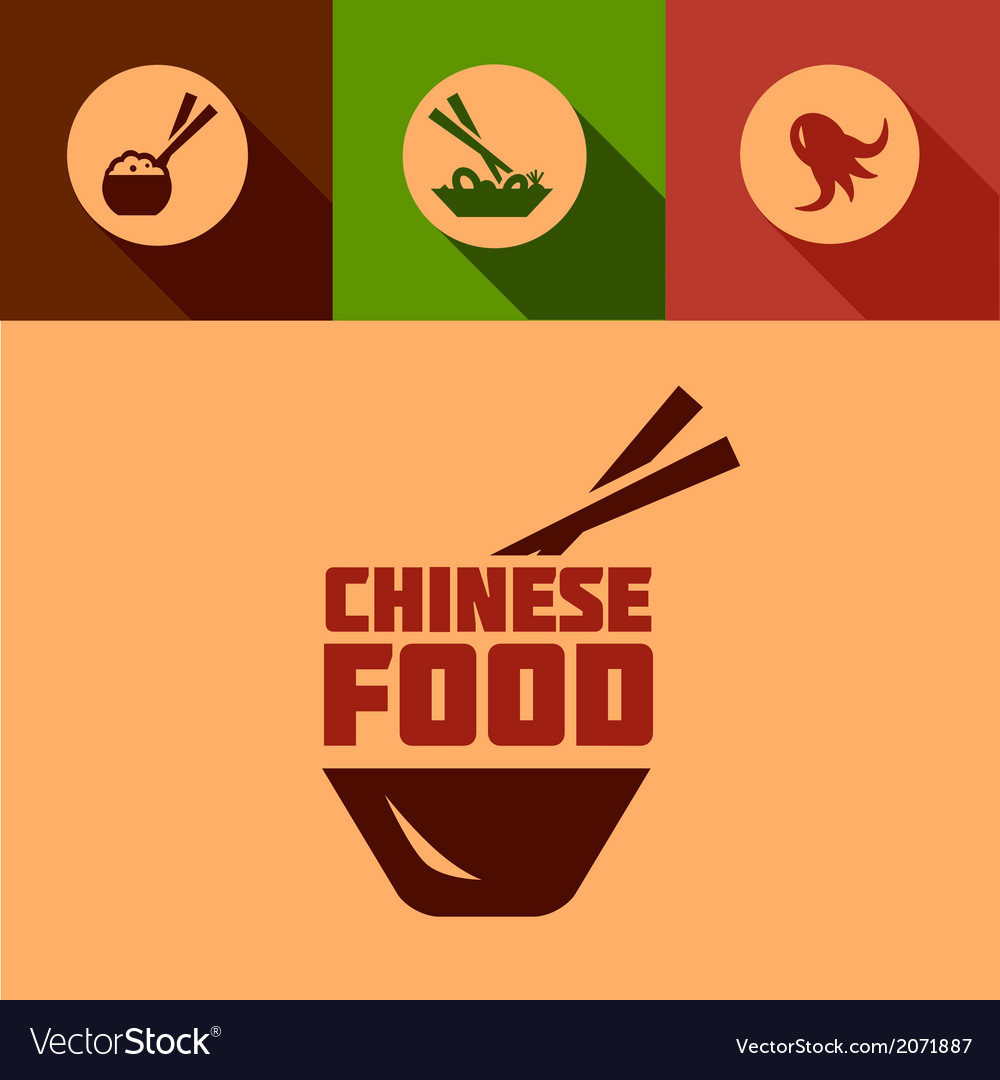 Flat Chinese Food Design Royalty Free Vector Image