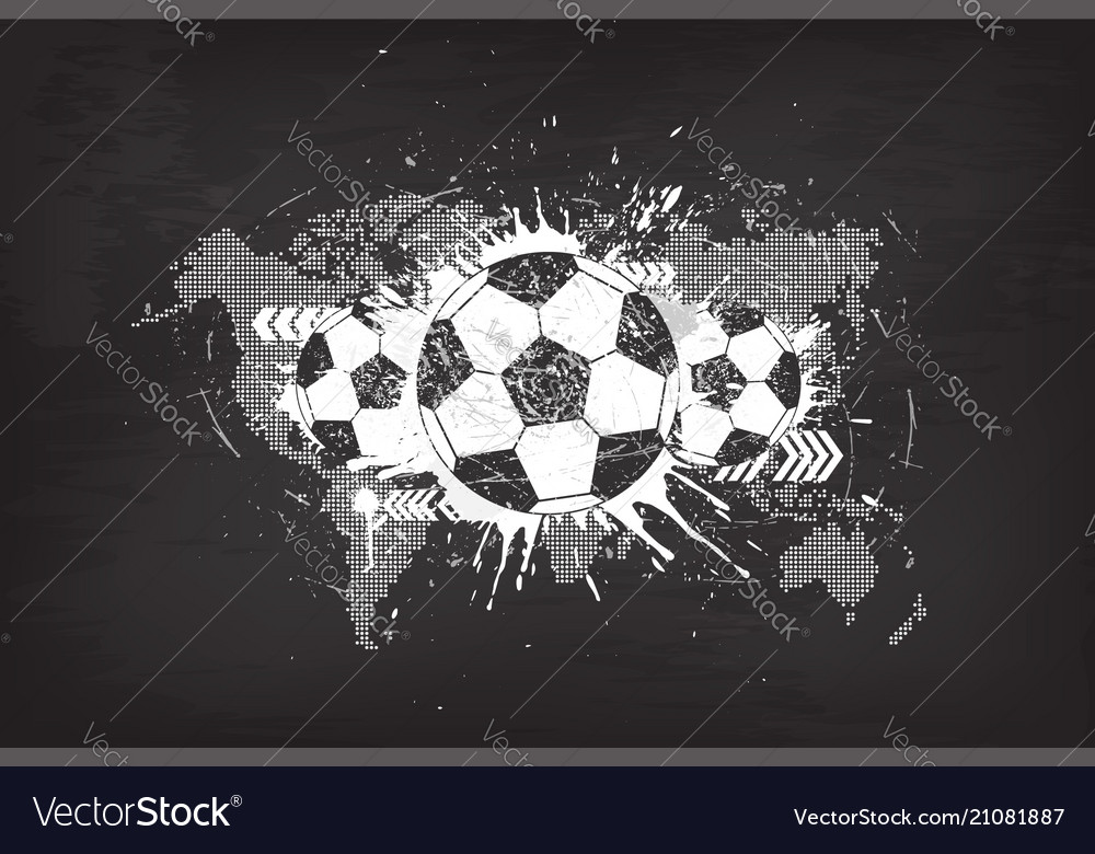 Grunge abstract football background with world