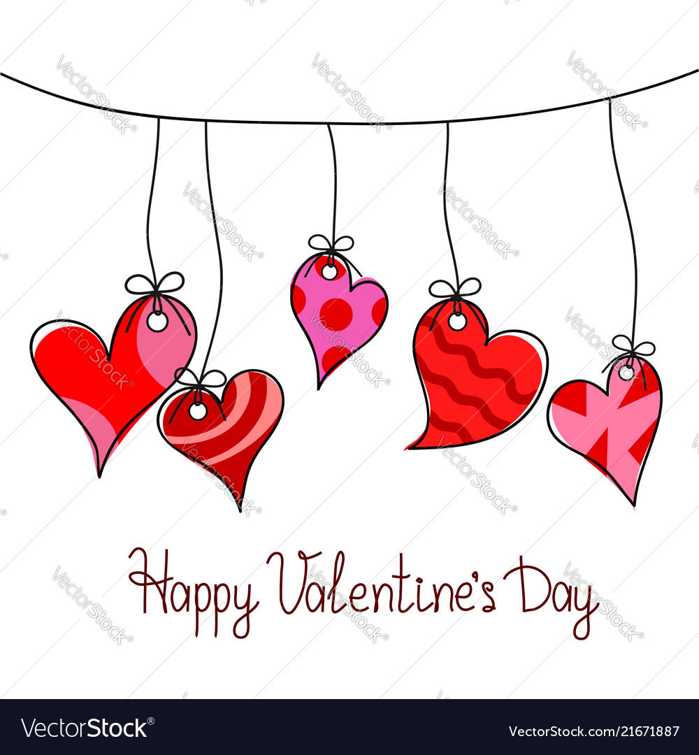 Happy Valentines Day Greeting Card With Five Red Vector Image
