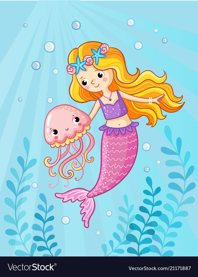 Mermaid with a jellyfish under water