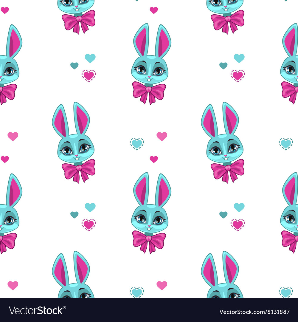 Pretty seamless pattern with cute bunny