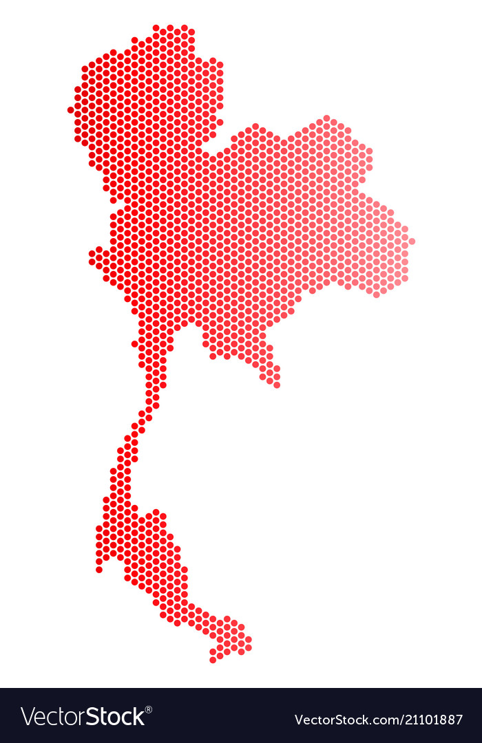 Red dotted thailand map