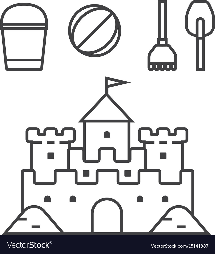 Sand castle and beach toys icons