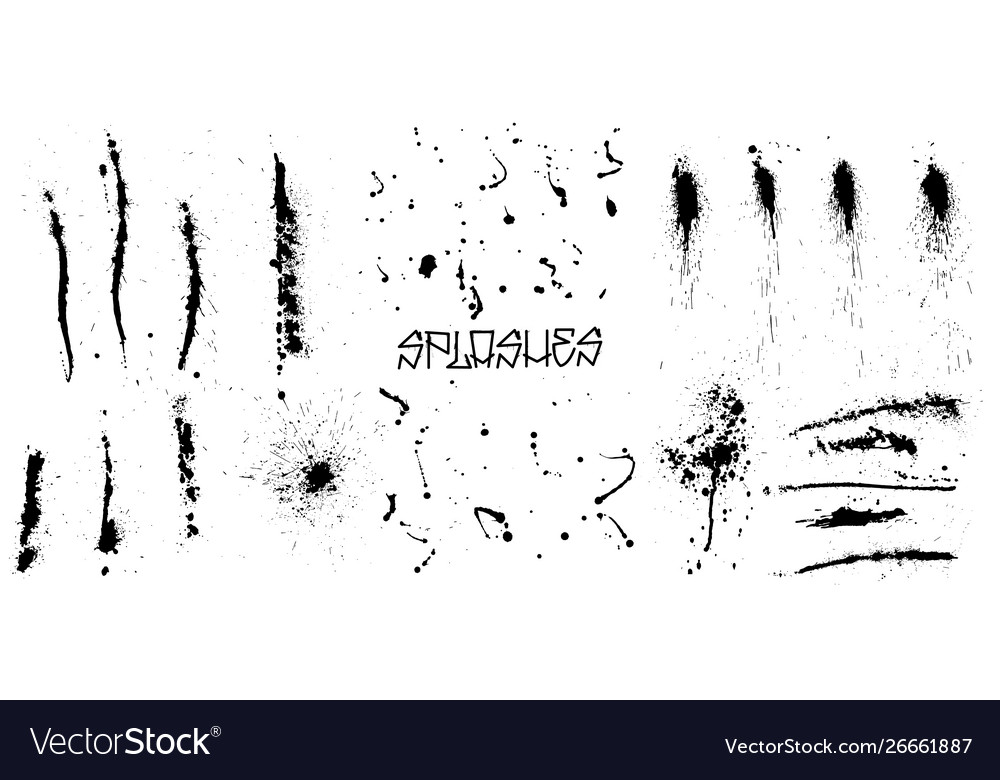 Set black grunge splash on white background