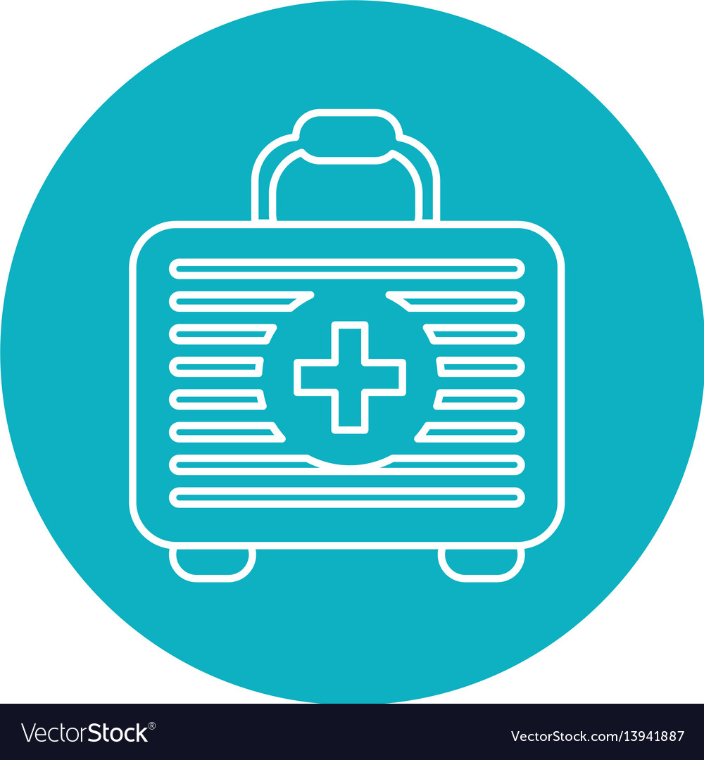 Symbol first aid kit medications tools vector image