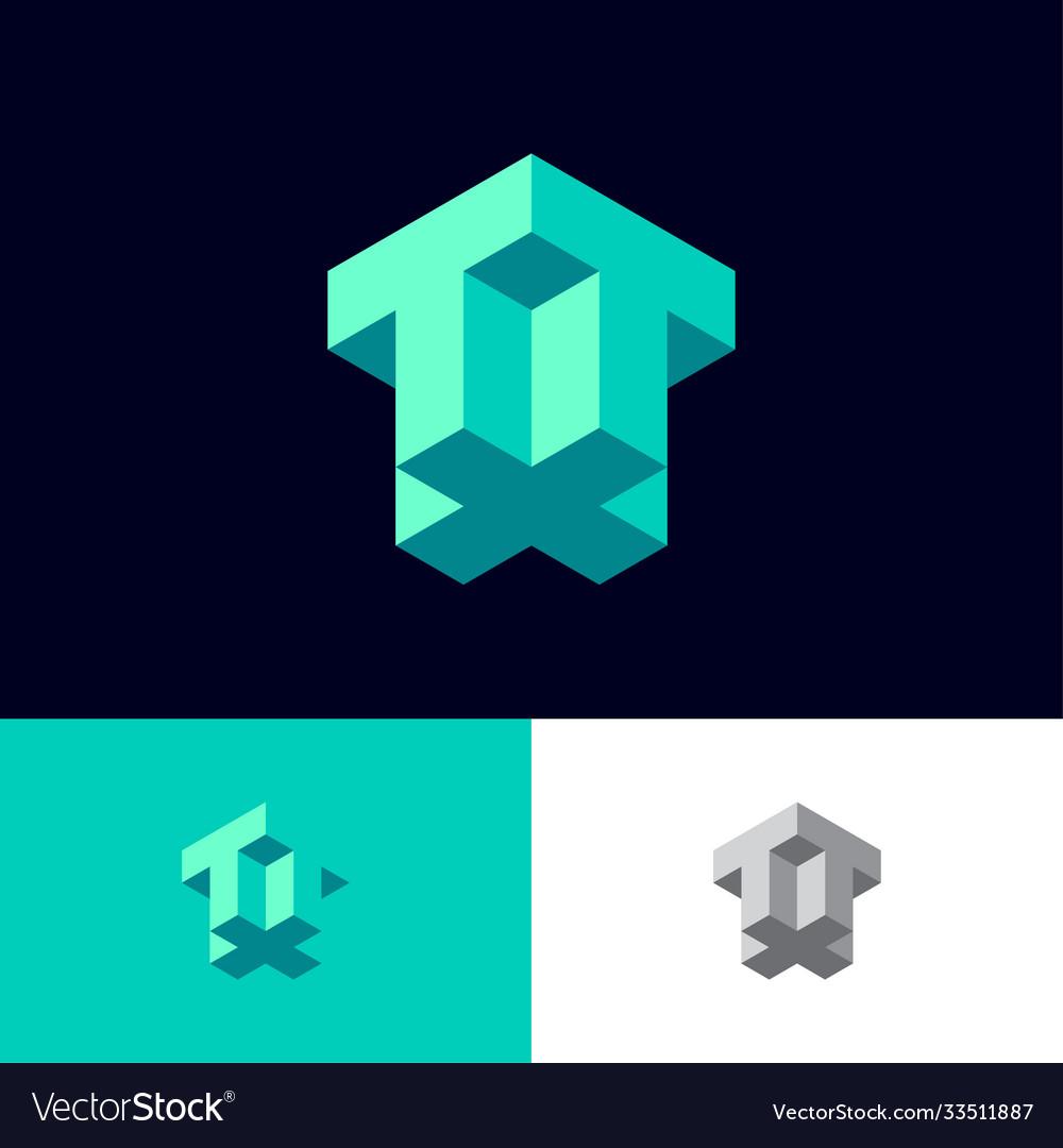 T plus monogram like isometric projection