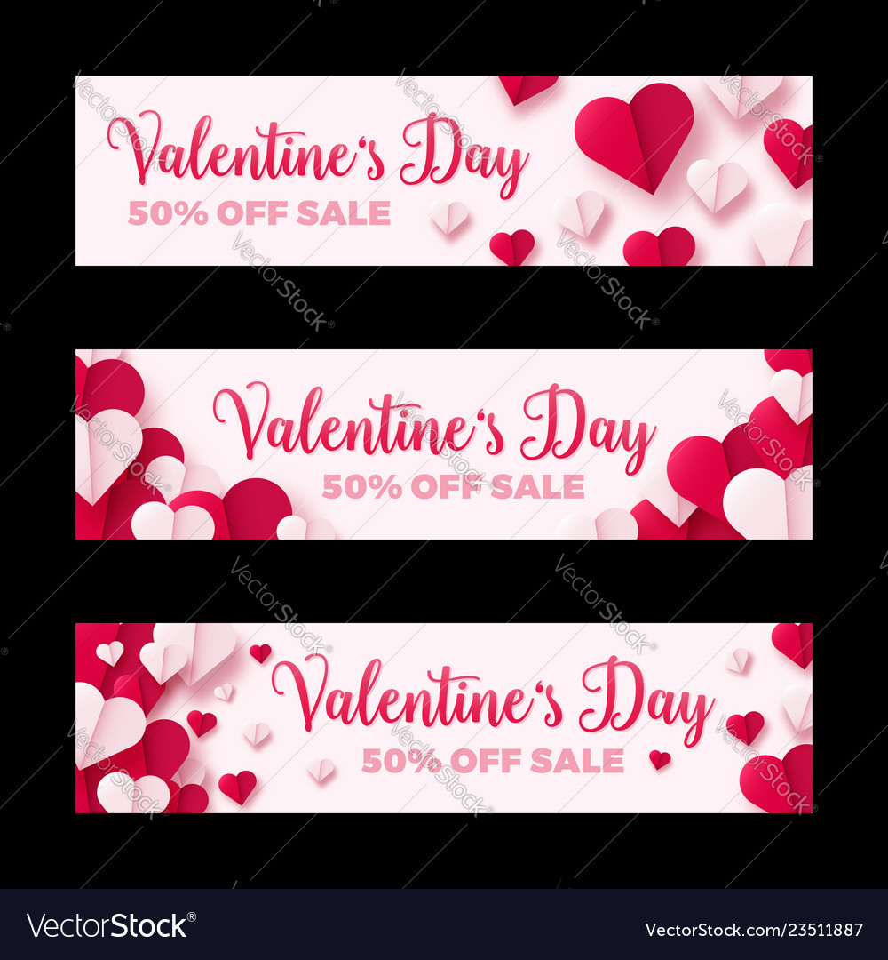 Valentines day sale banner paper origami hearts