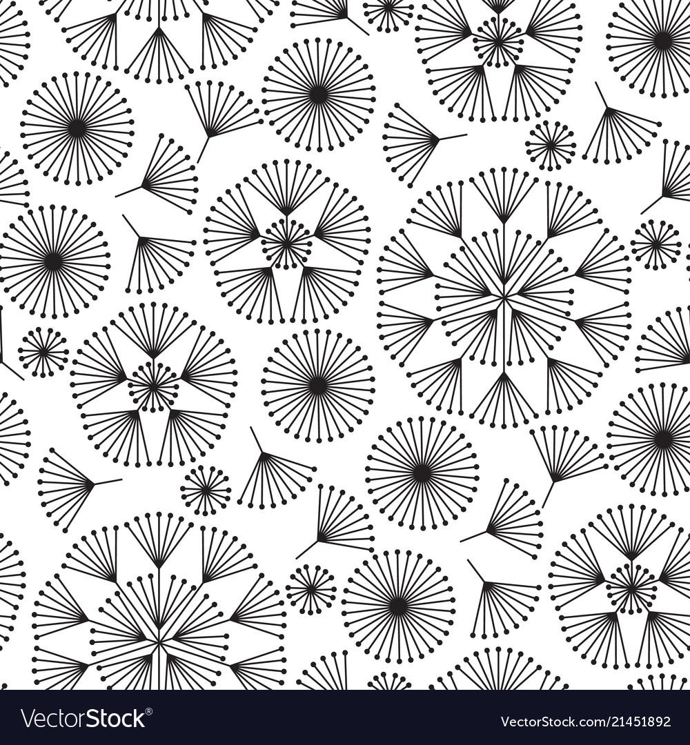 Abstract geometric dandelion flowers pattern