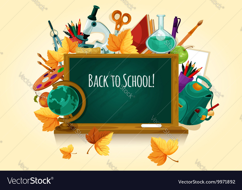 Back to school Chalked text on blackboard