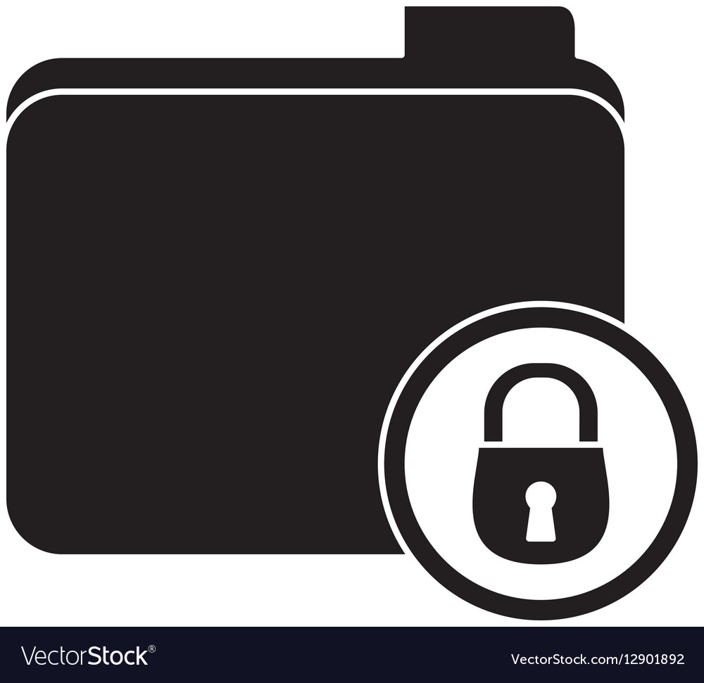 Black file data center security vector image