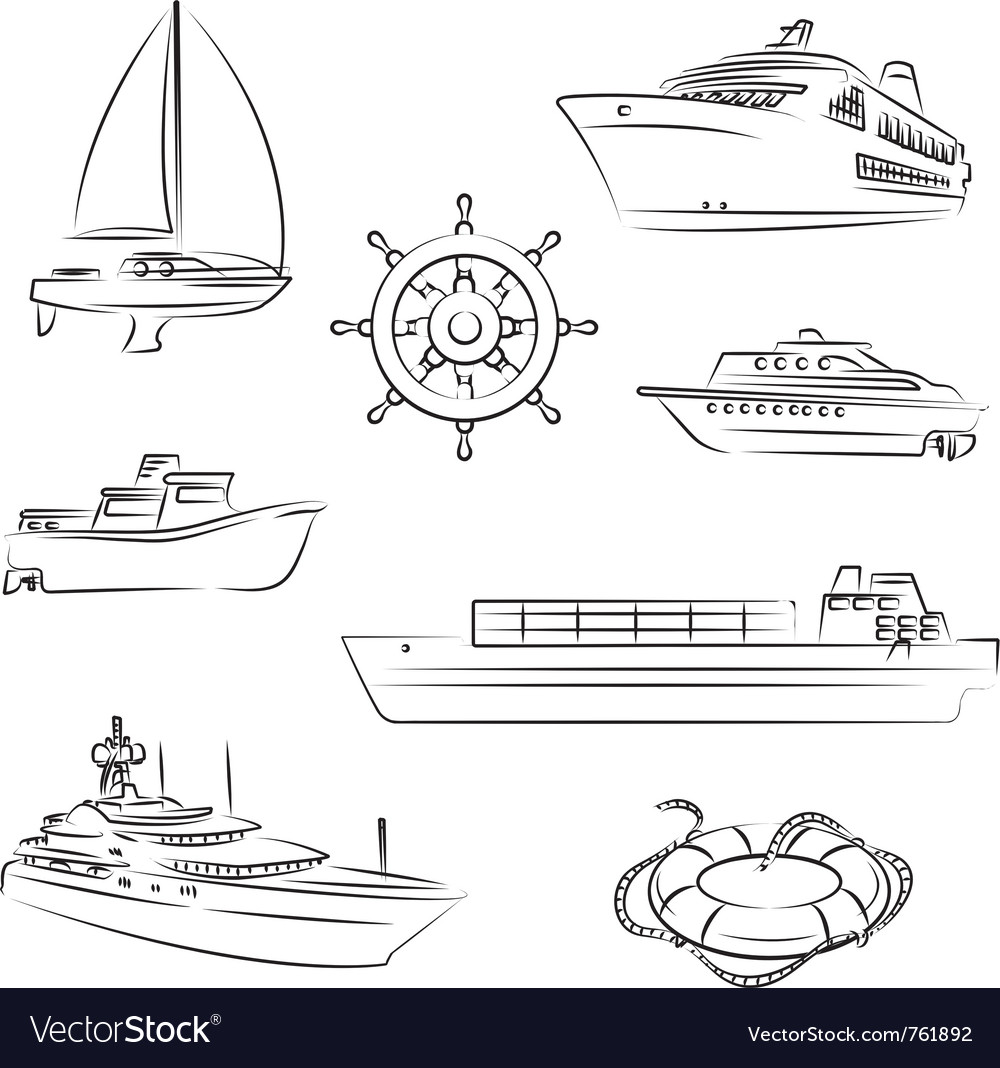 Boats and ships vector image