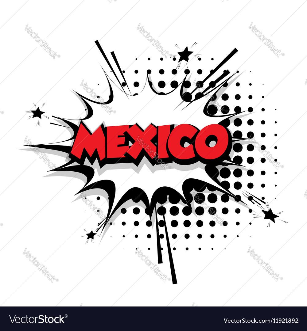 Comic text Mexico sound effects pop art