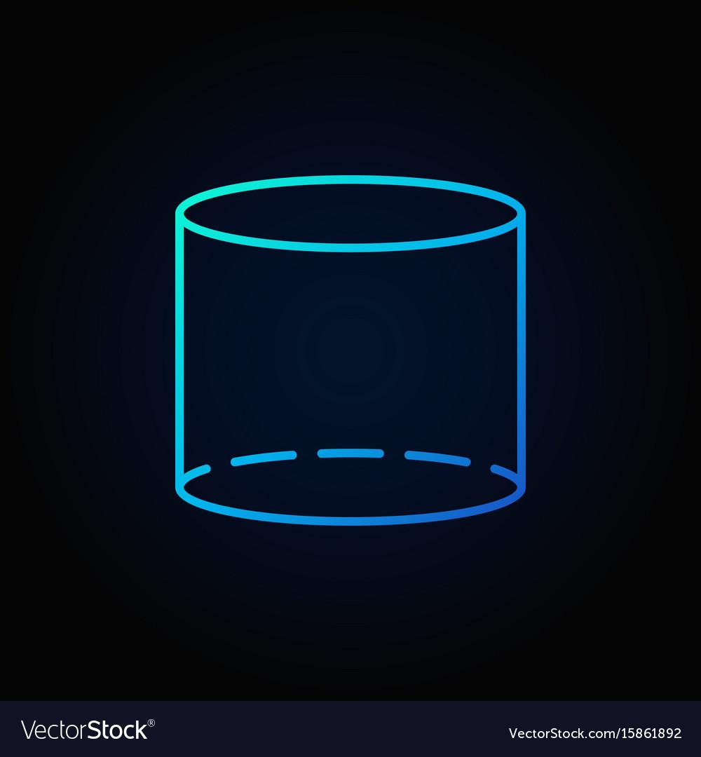 Cylinder blue outline icon vector image