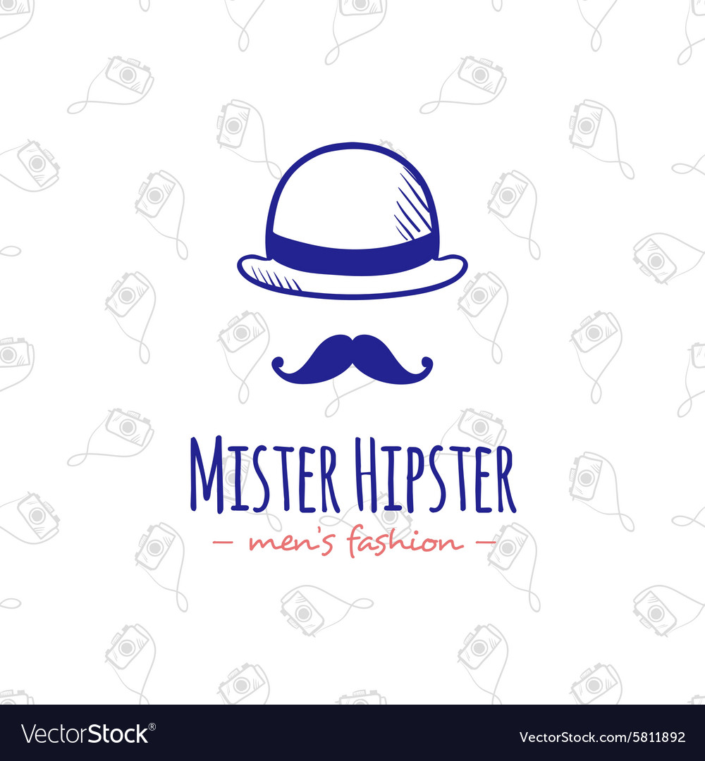 Doodle man head stylized logo Hand drawn vector image
