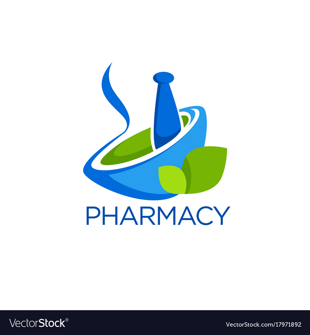 Eco pharmacy glossy shine logo template with