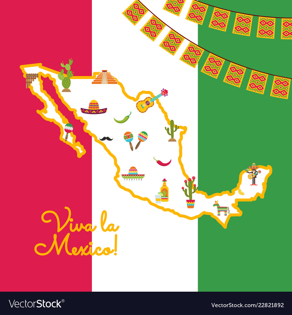 Flat mexico attributes on map mexican flag