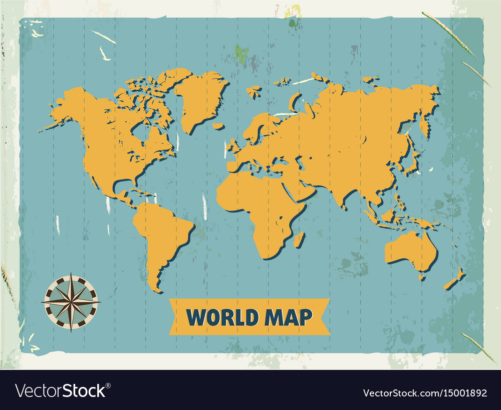 Grunge retro metal sign with world map vintage