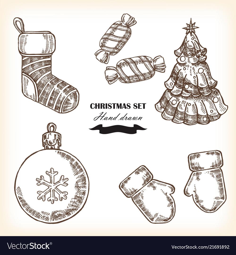 Hand drawn christmas set christmas design element