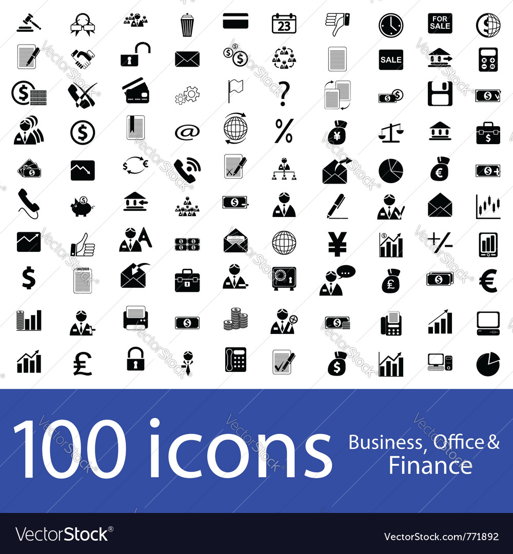 Icons business office finance