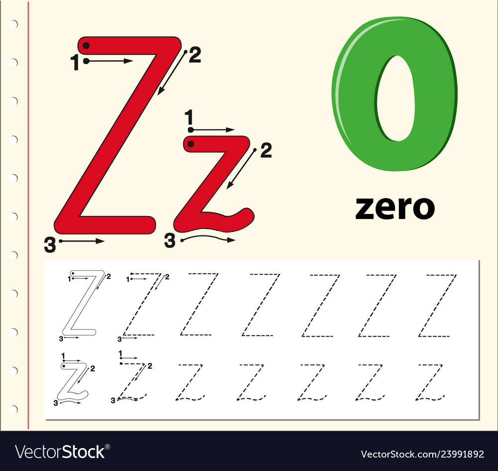 Letter Z Tracing Alphabet Worksheets Royalty Free Vector