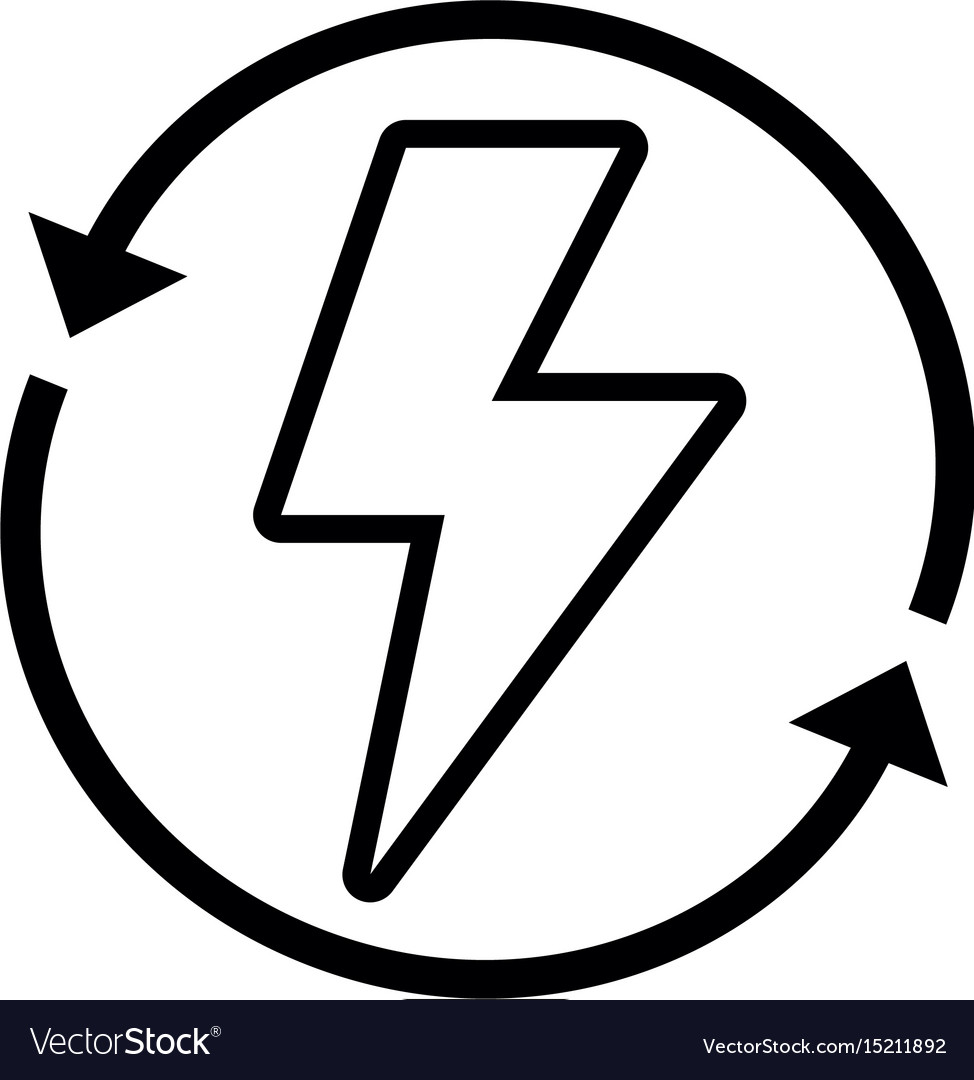 line energy hazard symbol with arrows around vector image vectorstock