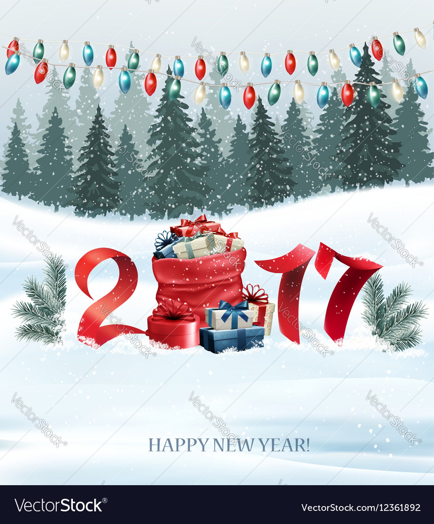 New year background with a 2017 and sack