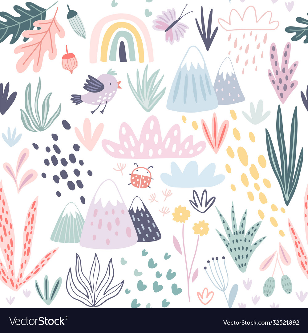 Seamless pattern with mountains plants cacti