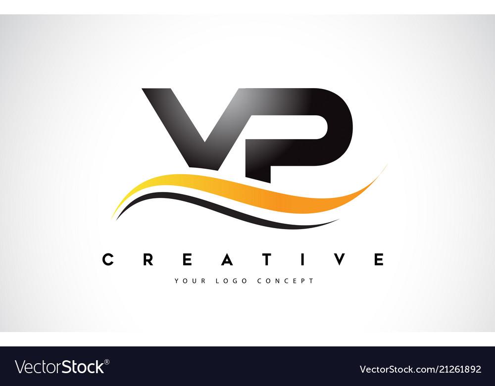 Vp v p swoosh letter logo design with modern