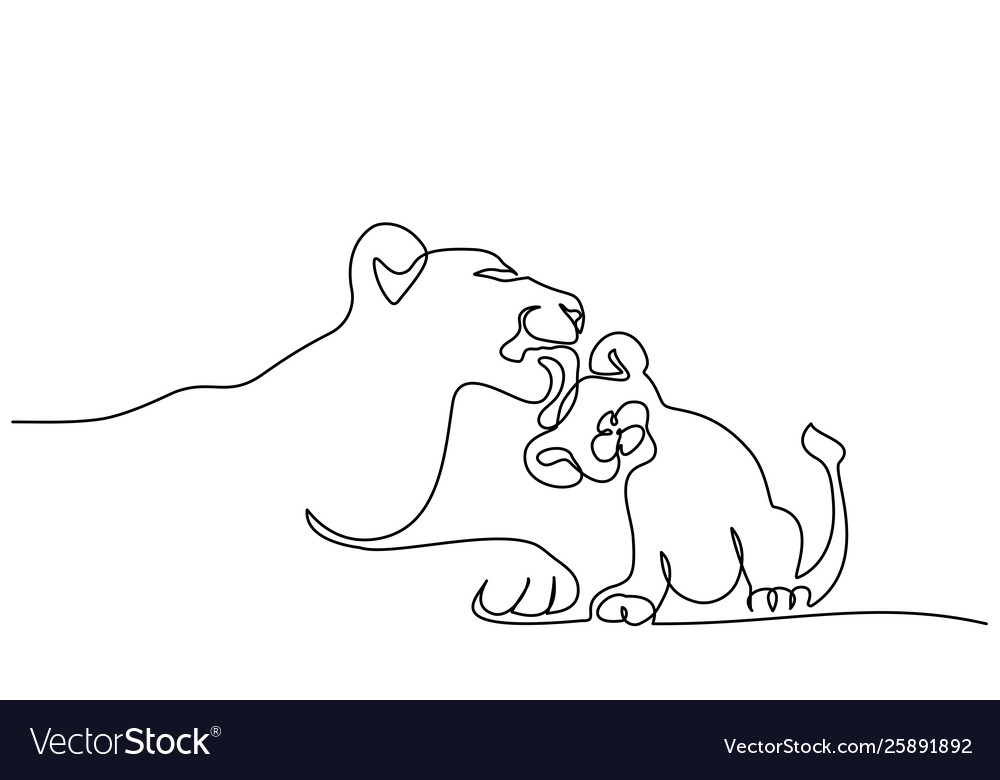 Young Lioness With Lion Cub One Line Drawing Vector Image Lion cub about 3 months old, climbing a tree. vectorstock